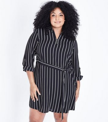 Curves Black Stripe Belted Shirt Dress