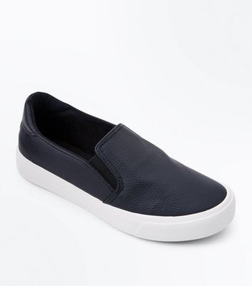 Teens Black Slip On Trainers