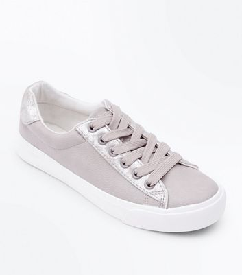 Teens Grey Leather-Look Lace Up Trainers