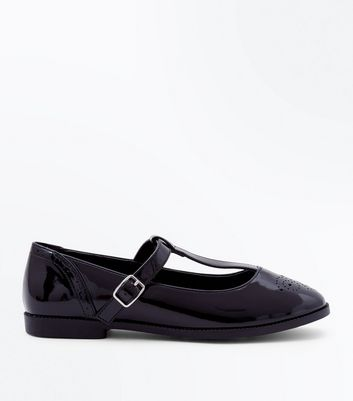Black Patent T Bar Brogues by New Look