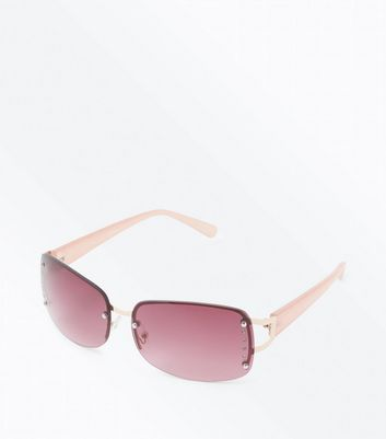 Pink Diamanté Rimless Sunglasses