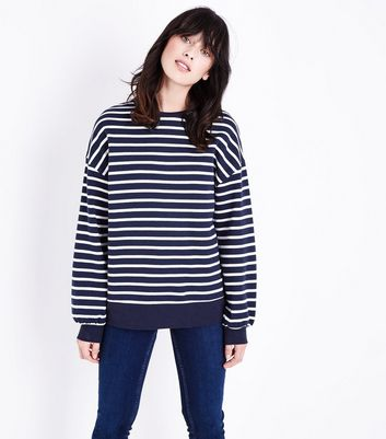 Navy Stripe Slouchy Sweatshirt