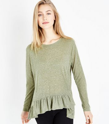 Olive Green Frill Hem Long Sleeve T-Shirt