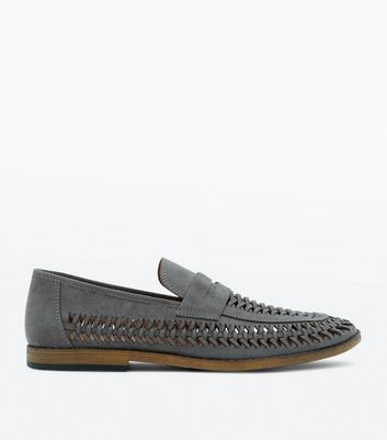 Pale Grey Woven Faux Suede Loafers