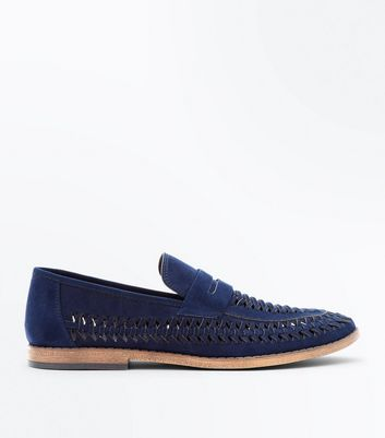 Navy Woven Faux Suede Loafers