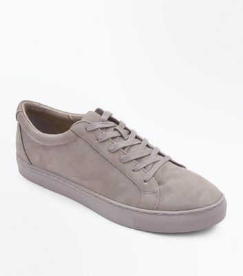 Dark Grey Faux Suede Lace Up Trainers