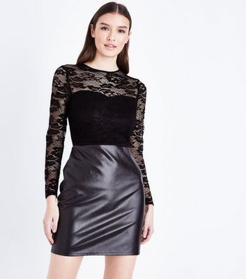 Black 2 in 1 Lace and Leather-Look Dress