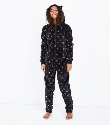 Girls Black Cat Print Onesie