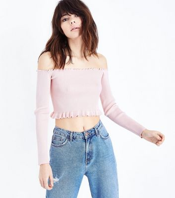 Cameo Rose Pink Frill Trim Bardot Neck Crop Top