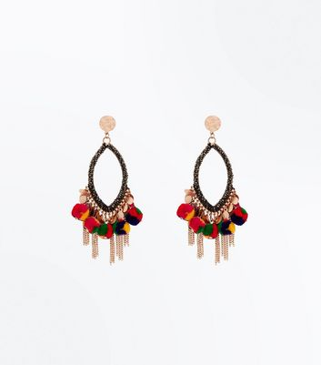 Multi Coloured Tassel Drop Chandelier Earrings