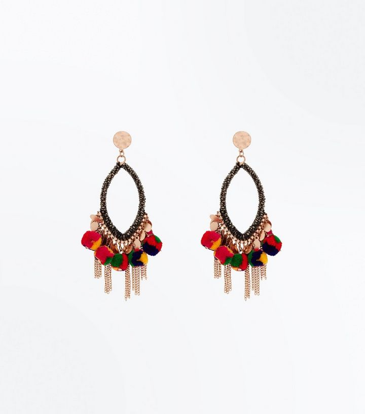 Multi coloured tassel drop chandelier earrings new look shop the look aloadofball