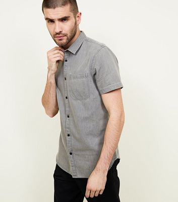 Grey Short Sleeve Denim Shirt