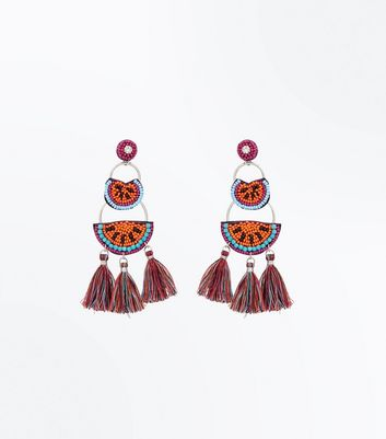 Orange Watermelon Tassel Chandelier Earrings