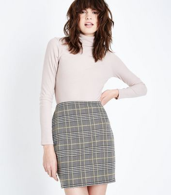 Mustard Yellow Check Jersey Mini Skirt