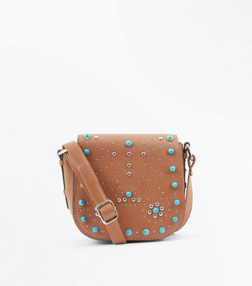 Tan Studded Western Cross Body Bag