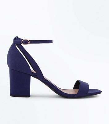 Wide Fit Navy Suedette Square Toe Heeled Sandals