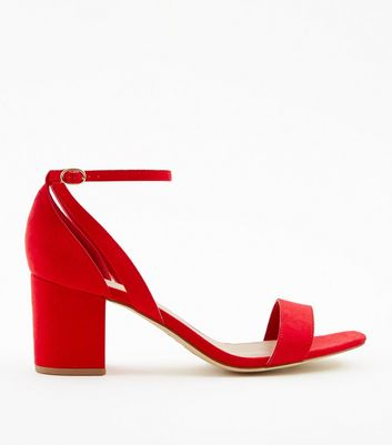 Wide Fit Red Suedette Square Toe Heeled Sandals