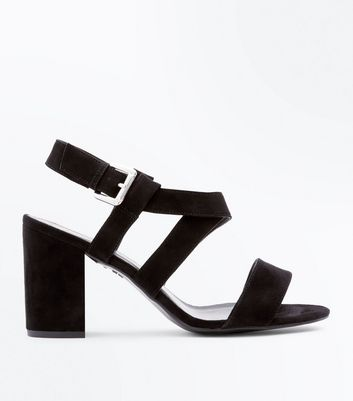 Wide Fit Black Suedette Cross Strap Heeled Sandals