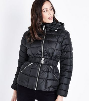 Black Faux Fur Collar Belted Puffer Jacket