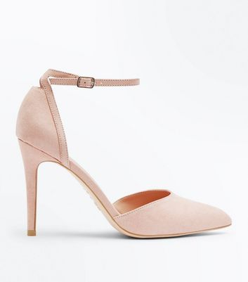 Nude Suedette Ankle Strap Pointed Courts
