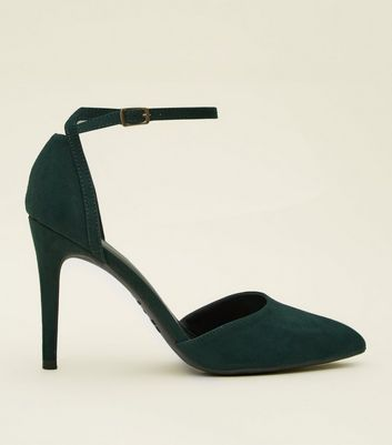 Dark Green Suedette Ankle Strap Pointed Courts by New Look