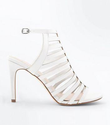 White Stiletto Heel Gladiator Sandals