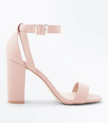 Nude Textured Cut Out Block Heel Sandals by New Look