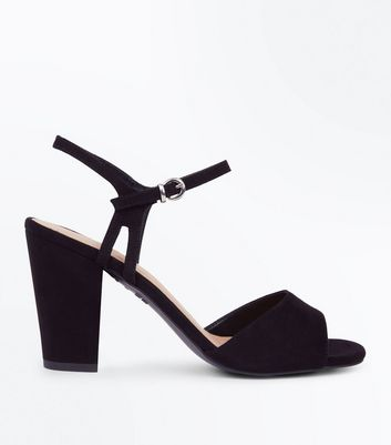 Black Suedette Cut Out Side Block Heel Sandals