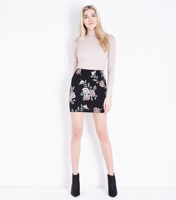 Black Floral Puff Print Mini Skirt
