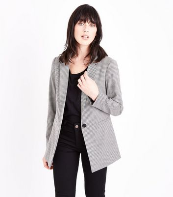 Grey Check Split Back Blazer