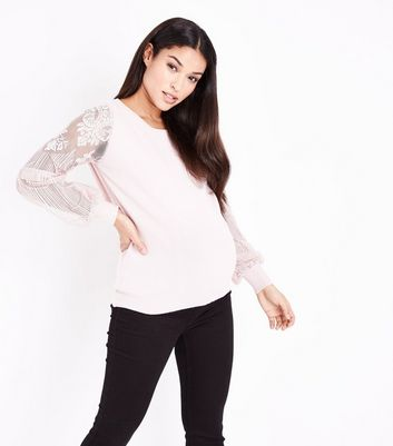 Maternity Shell Pink Lace Balloon Sleeve Jumper
