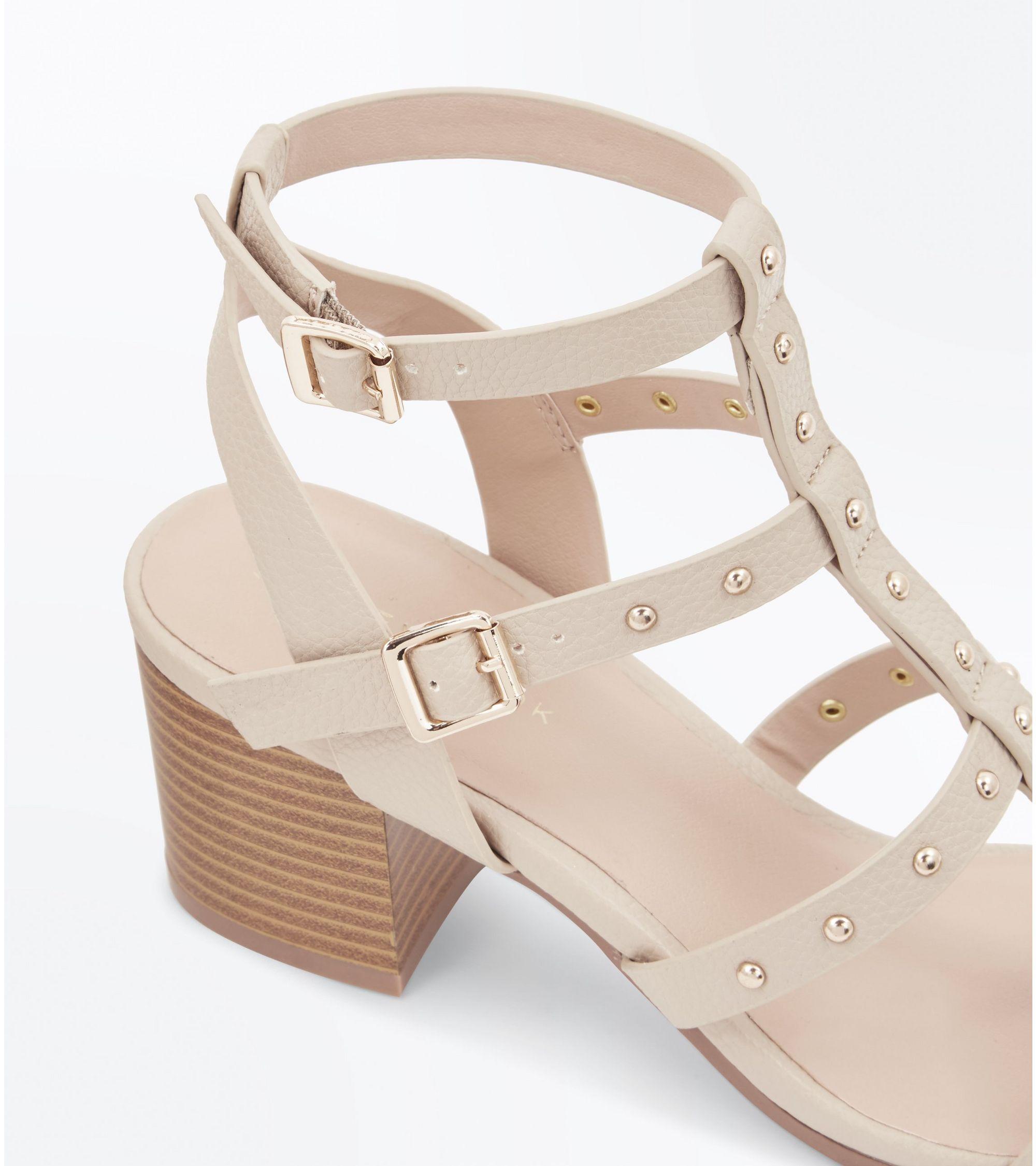 05f3c707ec44 New Look Brown Studded Block Heel Gladiator Sandals at £29.99