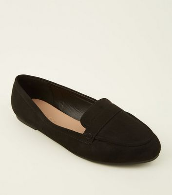 Wide Fit Black Suedette Strap Front Loafers