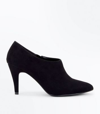 Wide Fit Black Suedette Pointed Shoe Boots