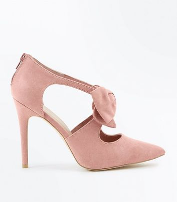 Wide Fit Pink Suedette Bow Front Pointed Courts