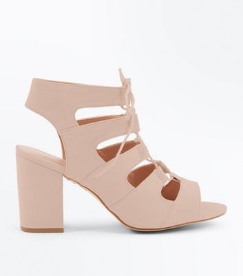 Wide Fit Nude Suedette Lace Up Sandals