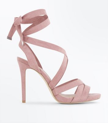 Wide Fit Pink Suedette Ankle Tie Stiletto Heels