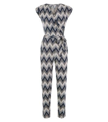 New Look - Blue Vanilla Black Zig Zag Jumpsuit - 4