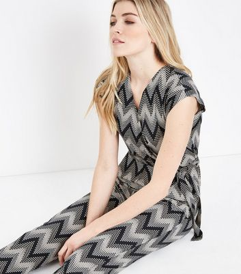 New Look - Blue Vanilla Black Zig Zag Jumpsuit - 2
