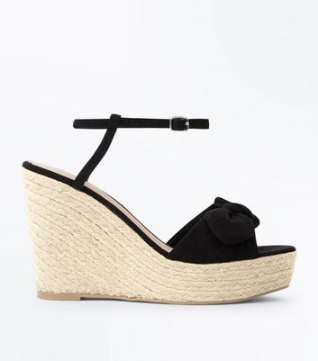 Black Suedette Bow Strap Wedges