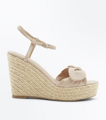 Nude Suedette Bow Strap Wedges