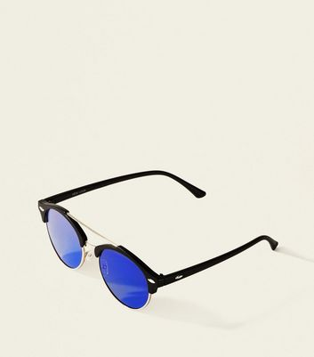 Bright Blue Bar Brow Sunglasses