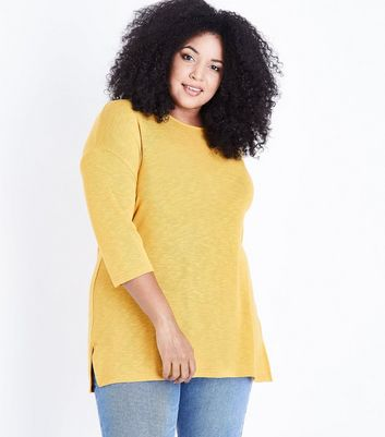 Curves Mustard Yellow Lattice Back Fine Knit Top