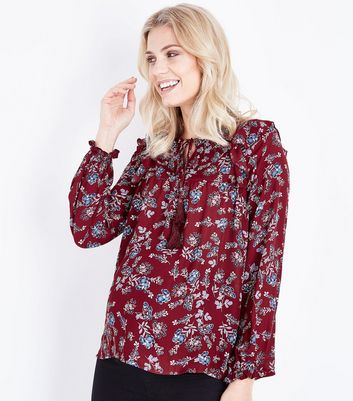 Maternity Red Floral Tassel Tie Neck Blouse
