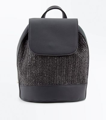 Black Woven Straw Backpack