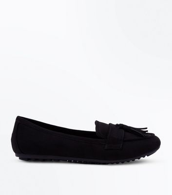 Black Suedette Tassel Loafers by New Look