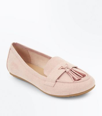 Nude Suedette Tassel Loafers