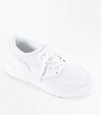 White Panelled Chunky Sole Trainers
