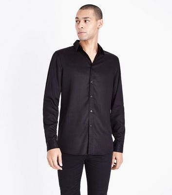 Black Viscose Long Sleeve Shirt