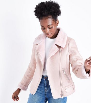 Pink Leather-Look Faux Fur Lined Aviator Jacket